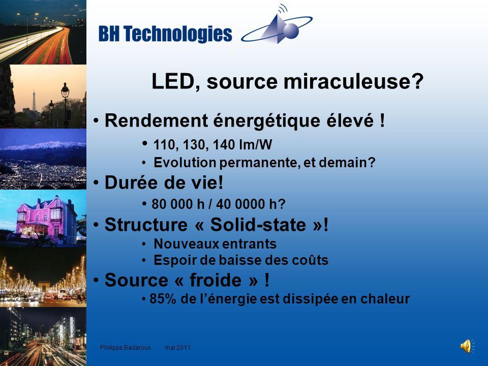 LED, source miraculeuse? Rendement énergétique élevé ! 110, 130, 140 lm/W Evolution permanente, et demain? Durée de vie! 80 000 h / 40 0000 h? Structu