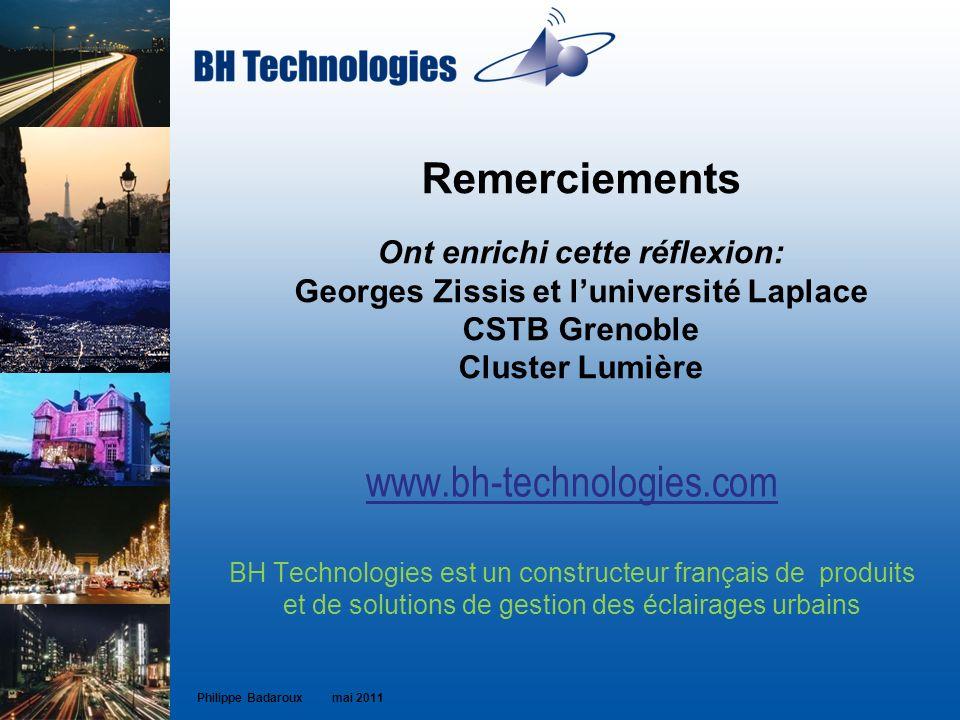 Remerciements Ont enrichi cette réflexion: Georges Zissis et luniversité Laplace CSTB Grenoble Cluster Lumière www.bh-technologies.com BH Technologies