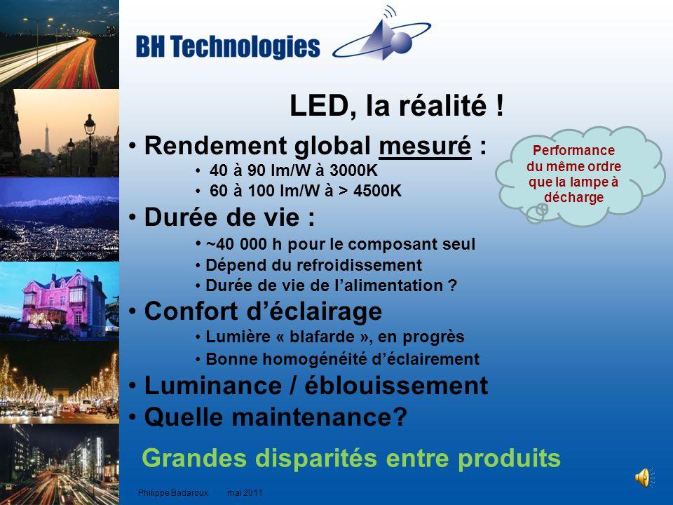 LED, la réalité ! Rendement global mesuré : 40 à 90 lm/W à 3000K 60 à 100 lm/W à > 4500K Durée de vie : ~40 000 h pour le composant seul Dépend du ref