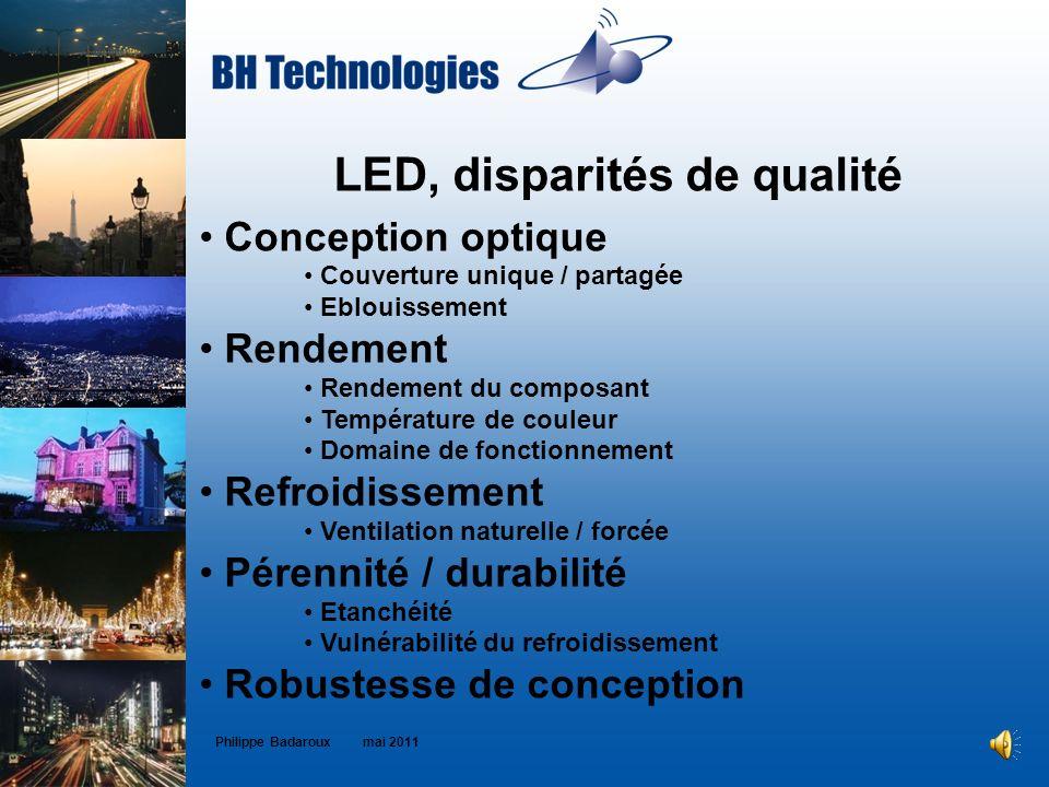 LED, disparités de qualité Conception optique Couverture unique / partagée Eblouissement Rendement Rendement du composant Température de couleur Domai