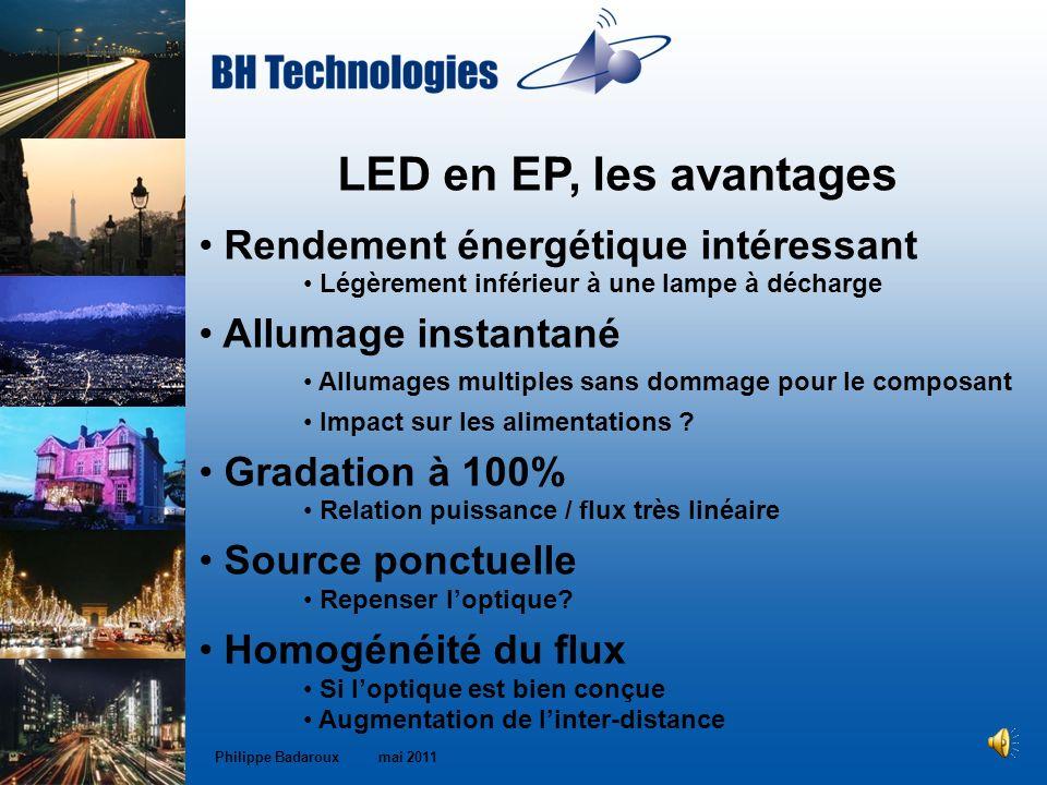 LED en EP, les avantages Rendement énergétique intéressant Légèrement inférieur à une lampe à décharge Allumage instantané Allumages multiples sans do