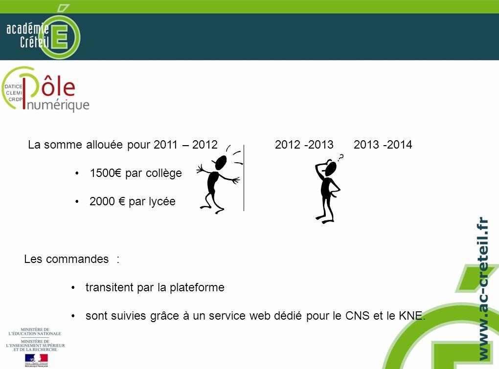 Les commandes : transitent par la plateforme sont suivies grâce à un service web dédié pour le CNS et le KNE. La somme allouée pour 2011 – 2012 1500 p