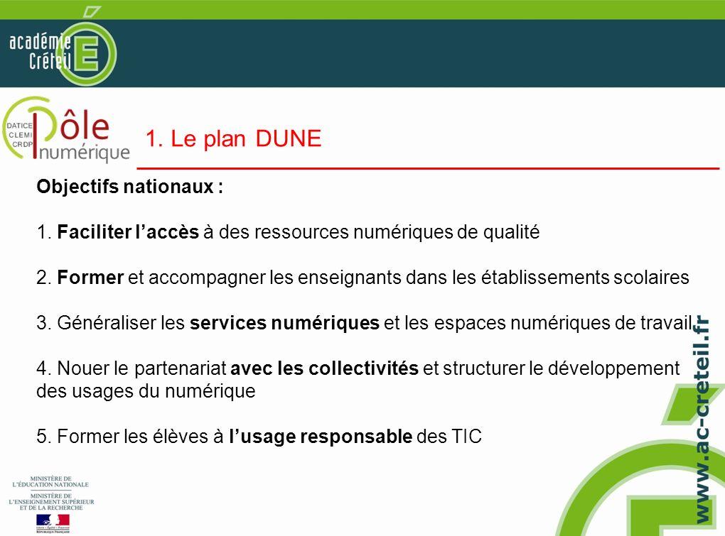 1. Le plan DUNE Objectifs nationaux : 1. Faciliter laccès à des ressources numériques de qualité 2. Former et accompagner les enseignants dans les éta