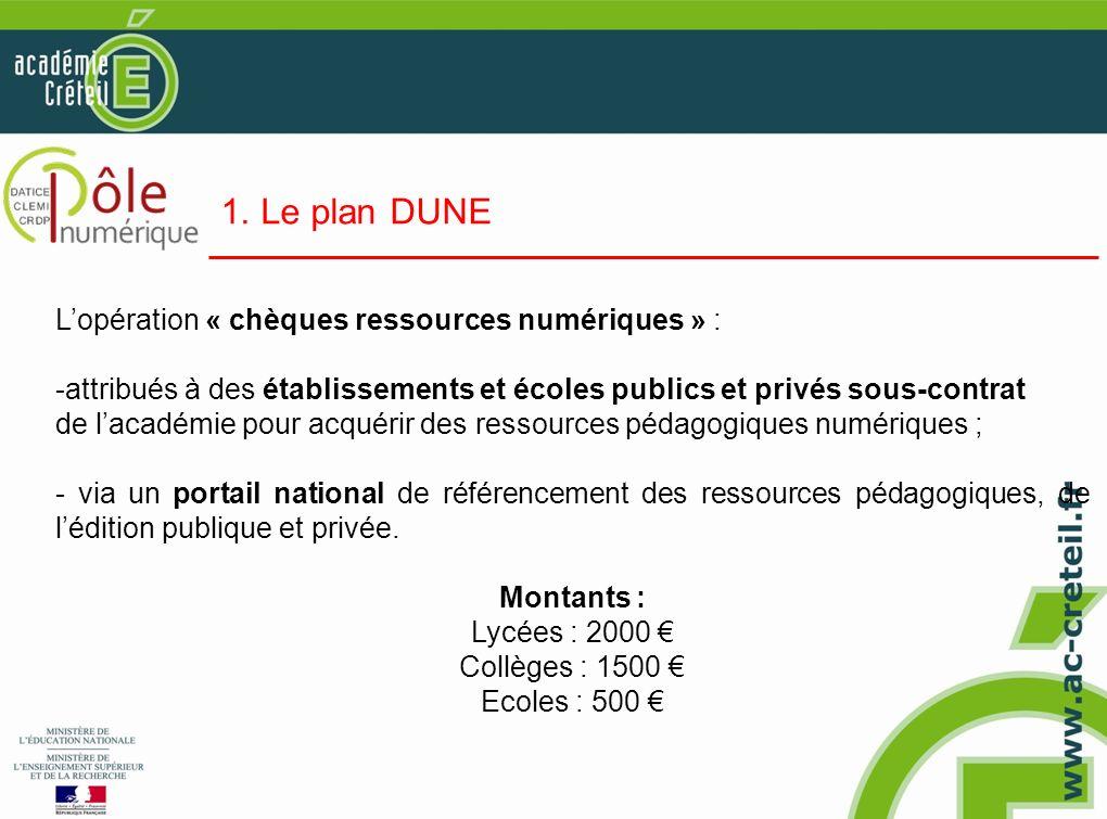 1. Le plan DUNE Lopération « chèques ressources numériques » : -attribués à des établissements et écoles publics et privés sous-contrat de lacadémie p