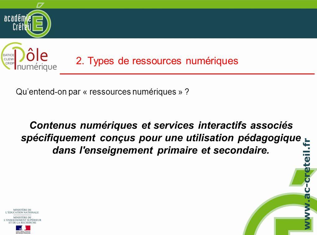 2. Types de ressources numériques Quentend-on par « ressources numériques » ? Contenus numériques et services interactifs associés spécifiquement conç