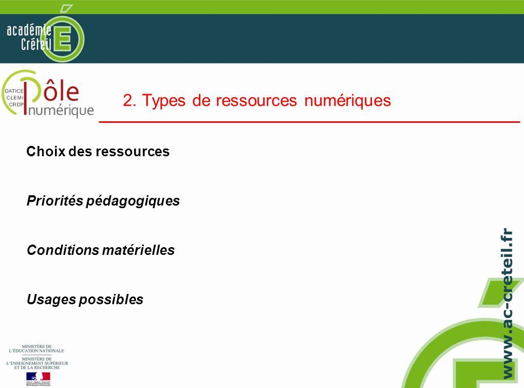 2. Types de ressources numériques Choix des ressources Priorités pédagogiques Conditions matérielles Usages possibles