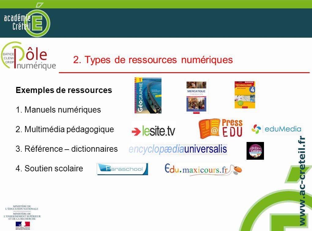 2. Types de ressources numériques Exemples de ressources 1. Manuels numériques 2. Multimédia pédagogique 3. Référence – dictionnaires 4. Soutien scola