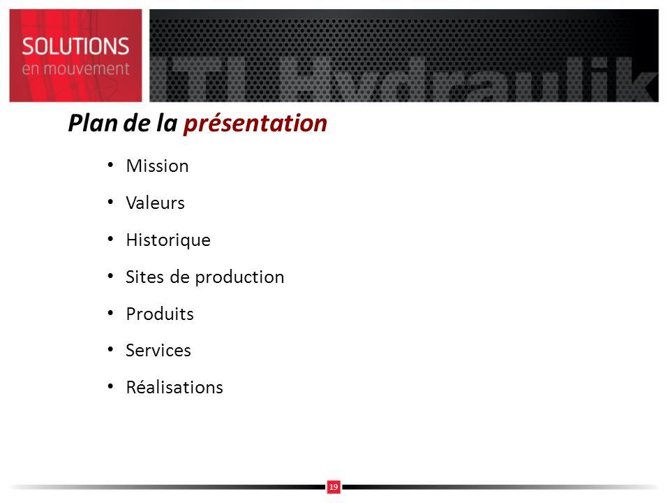 Plan de la présentation Mission Valeurs Historique Sites de production Produits Services Réalisations 19