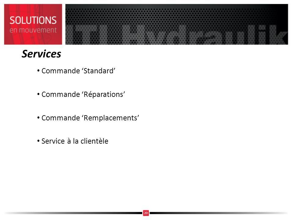 Services Commande Standard Commande Réparations Commande Remplacements Service à la clientèle 20