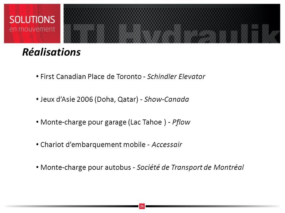 Réalisations First Canadian Place de Toronto - Schindler Elevator Jeux dAsie 2006 (Doha, Qatar) - Show-Canada Monte-charge pour garage (Lac Tahoe ) -