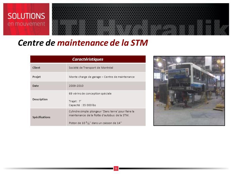 Centre de maintenance de la STM Caractéristiques ClientSociété de Transport de Montréal ProjetMonte charge de garage – Centre de maintenance Date2009-