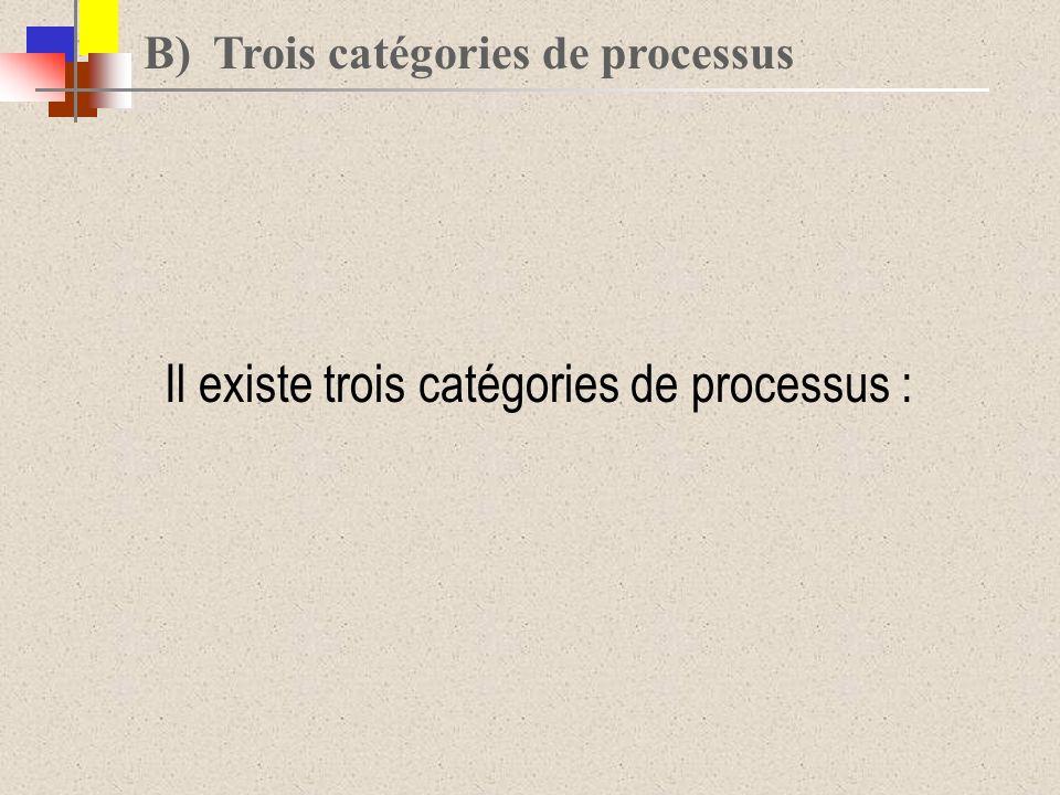B) Trois catégories de processus Il existe trois catégories de processus :