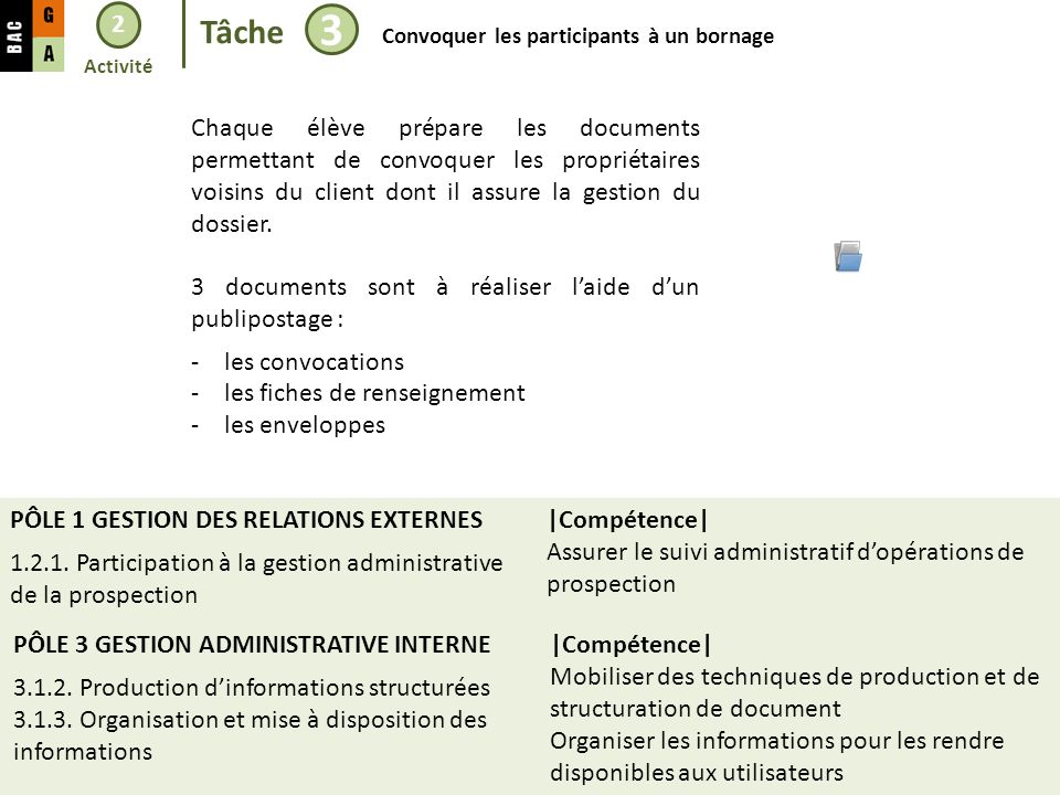 2 Tâche 3 Convoquer les participants à un bornage PÔLE 3 GESTION ADMINISTRATIVE INTERNE 3.1.2. Production dinformations structurées 3.1.3. Organisatio