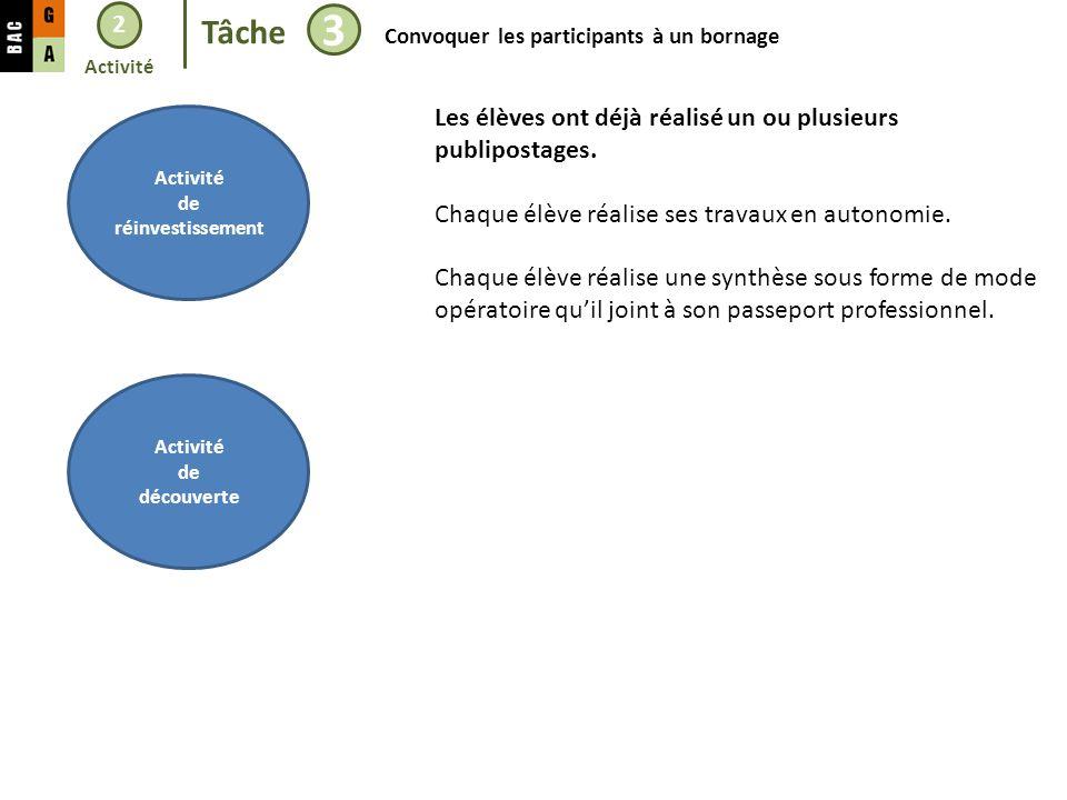 2 Tâche 3 Convoquer les participants à un bornage Activité de réinvestissement Activité de découverte Les élèves ont déjà réalisé un ou plusieurs publipostages.
