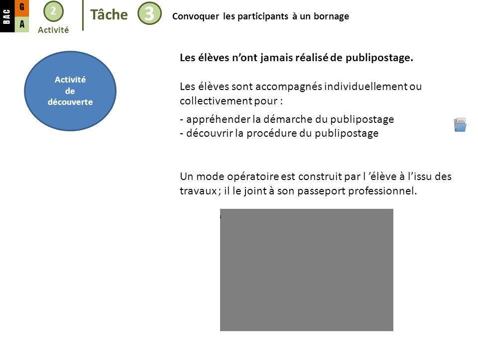 2 Tâche 3 Convoquer les participants à un bornage Activité de découverte Les élèves nont jamais réalisé de publipostage.