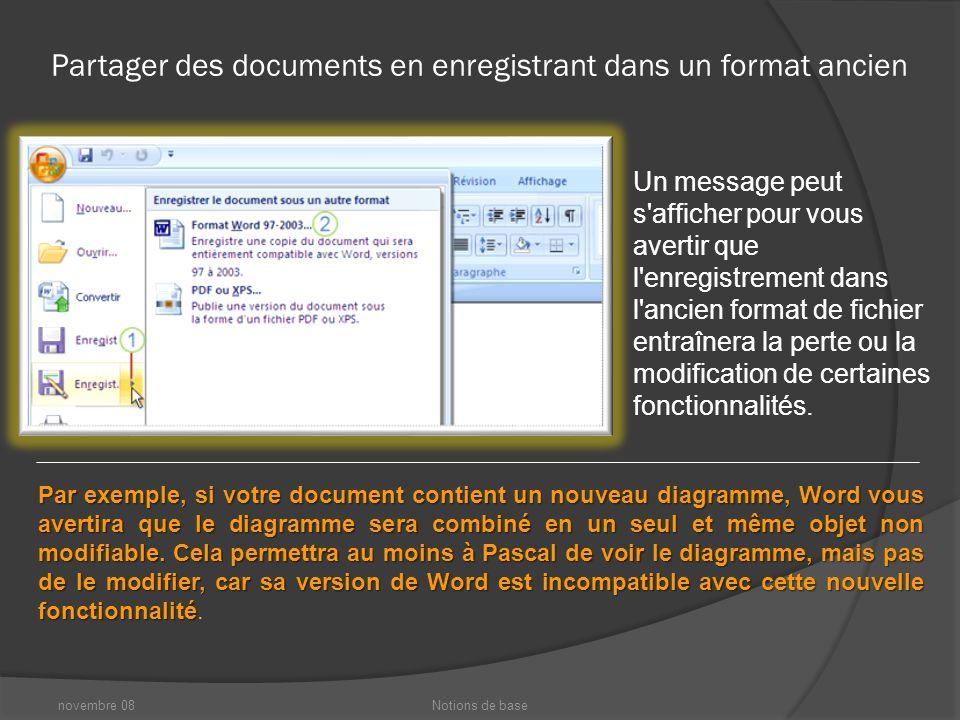 novembre 08Notions de base Partager des documents en enregistrant dans un format ancien Inquiet que Pascal ne dispose pas de cette installation de Office 2000 entièrement mise à jour .