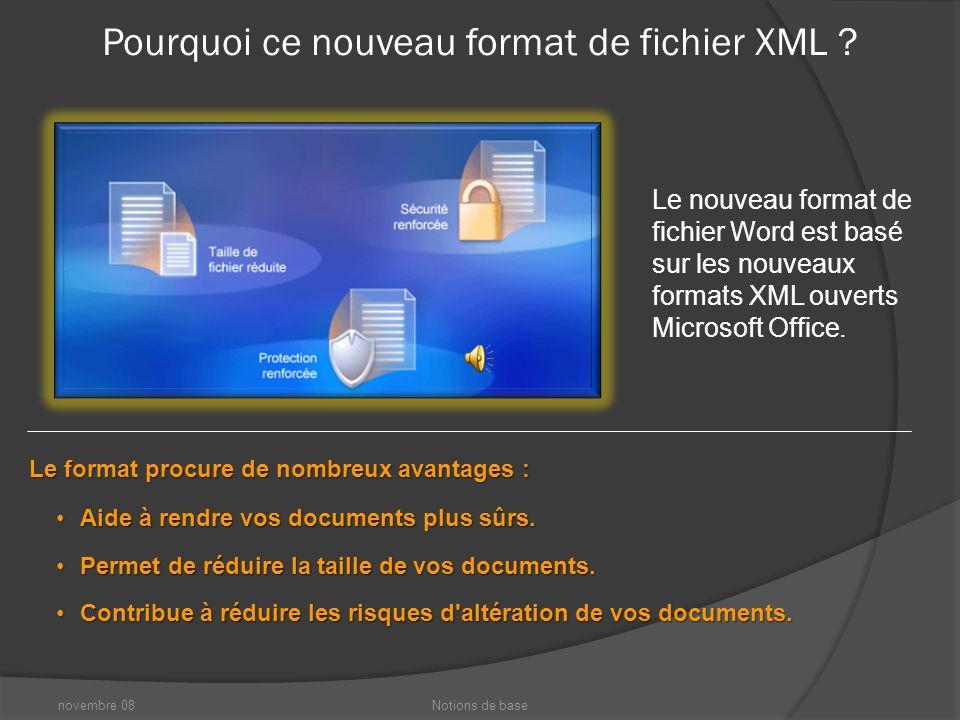 novembre 08Notions de base Nouveau format de fichier Un autre changement de taille dans cette nouvelle version de Word : un format de fichier amélioré.