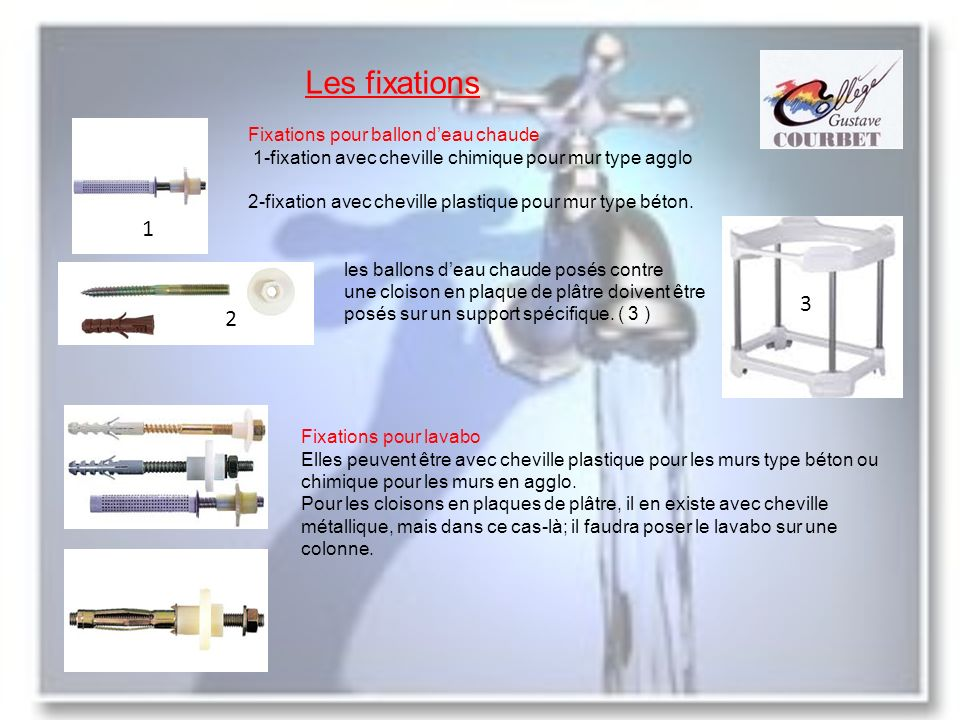 Les fixations Fixations pour ballon deau chaude 1-fixation avec cheville chimique pour mur type agglo 2-fixation avec cheville plastique pour mur type béton.