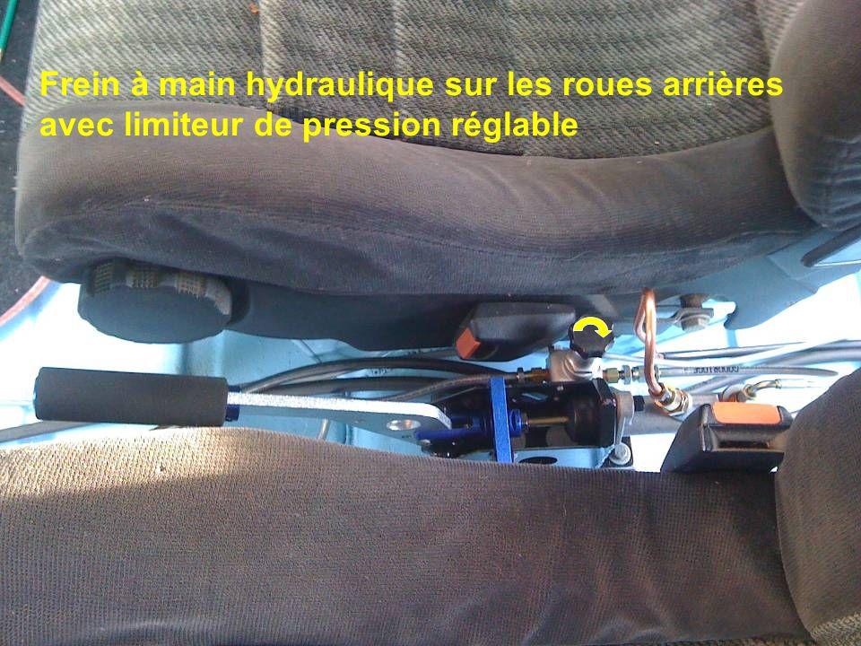 Frein à main hydraulique sur les roues arrières avec limiteur de pression réglable