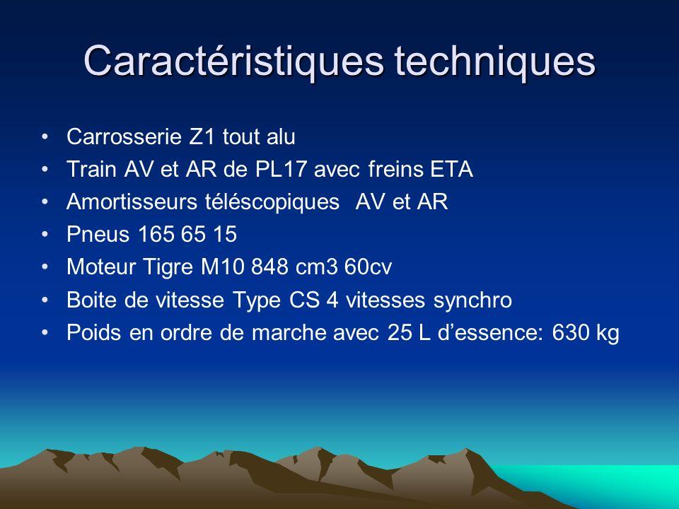 Caractéristiques techniques Carrosserie Z1 tout alu Train AV et AR de PL17 avec freins ETA Amortisseurs téléscopiques AV et AR Pneus 165 65 15 Moteur