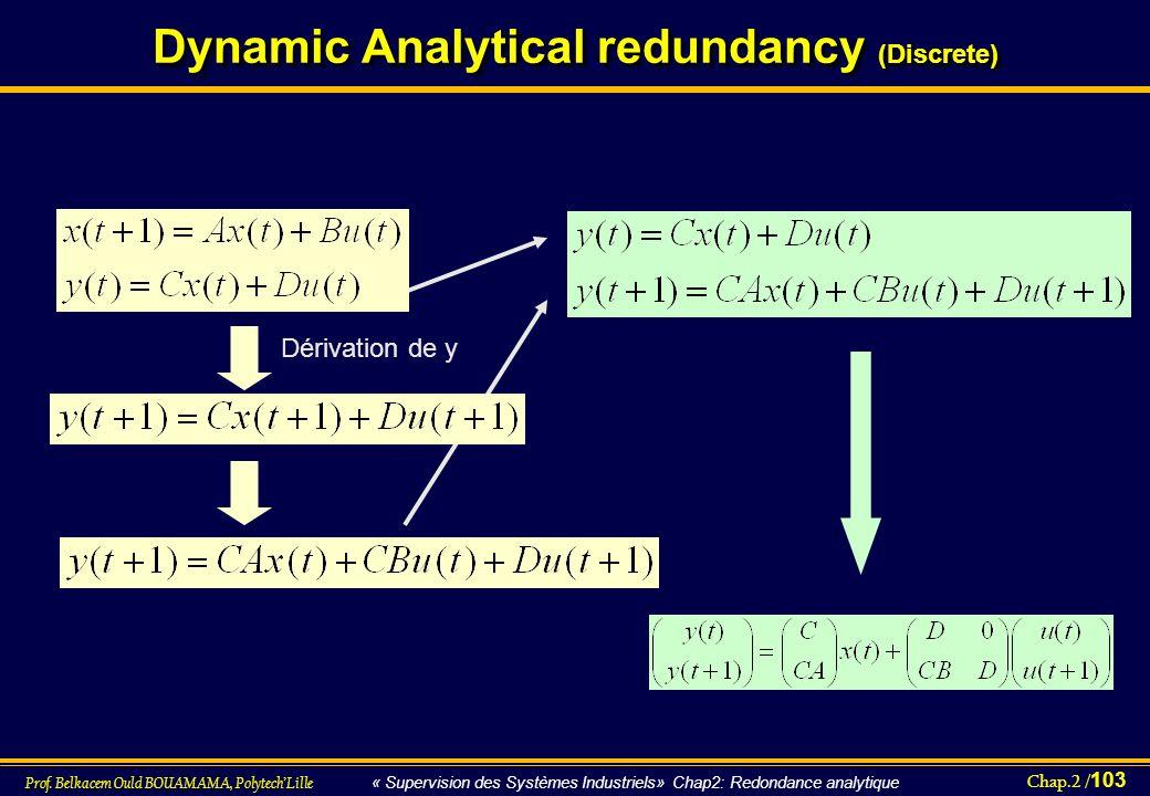 Chap.2 / 103 Prof. Belkacem Ould BOUAMAMA, PolytechLille « Supervision des Systèmes Industriels» Chap2: Redondance analytique Dynamic Analytical redun