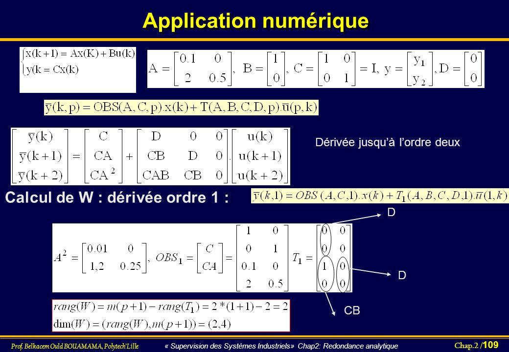 Chap.2 / 109 Prof. Belkacem Ould BOUAMAMA, PolytechLille « Supervision des Systèmes Industriels» Chap2: Redondance analytique Application numérique CB