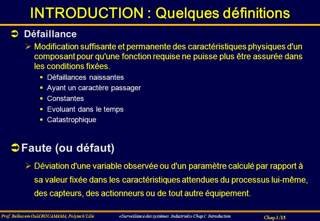 Chap.1 / 13 Prof. Belkacem Ould BOUAMAMA, PolytechLille «Surveillance des systèmes Industriels» Chap1: Introduction INTRODUCTION : Quelques définition