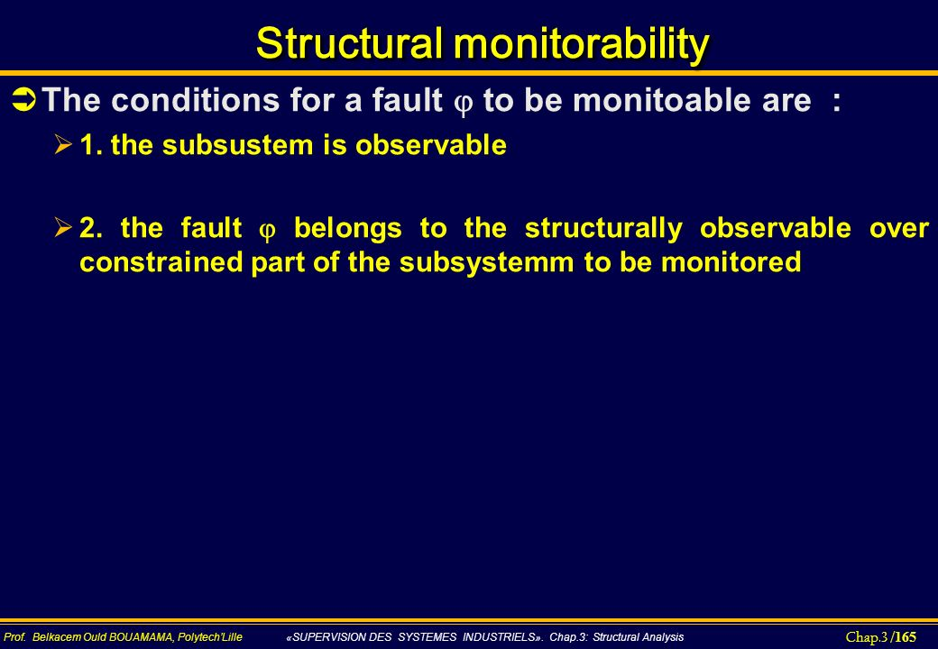 Chap.3 / 165 Prof. Belkacem Ould BOUAMAMA, PolytechLille «SUPERVISION DES SYSTEMES INDUSTRIELS». Chap.3: Structural Analysis Structural monitorability