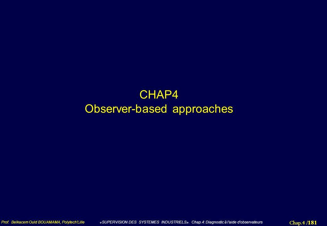 Chap.4 / 181 Prof. Belkacem Ould BOUAMAMA, PolytechLille «SUPERVISION DES SYSTEMES INDUSTRIELS». Chap.4: Diagnostic à laide dobservateurs CHAP4 Observ