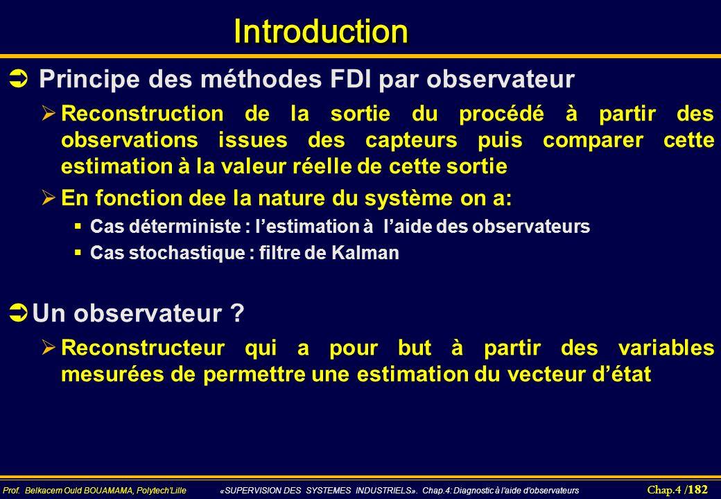 Chap.4 / 182 Prof. Belkacem Ould BOUAMAMA, PolytechLille «SUPERVISION DES SYSTEMES INDUSTRIELS». Chap.4: Diagnostic à laide dobservateurs Introduction