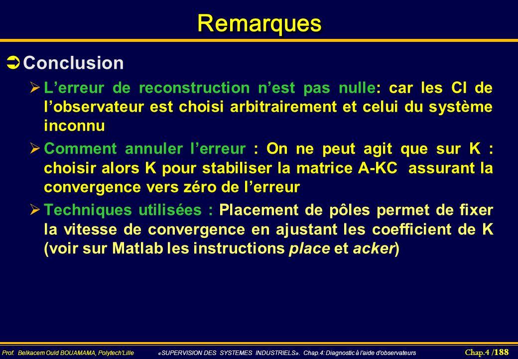 Chap.4 / 188 Prof. Belkacem Ould BOUAMAMA, PolytechLille «SUPERVISION DES SYSTEMES INDUSTRIELS». Chap.4: Diagnostic à laide dobservateurs RemarquesRem