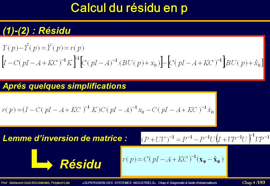 Chap.4 / 193 Prof. Belkacem Ould BOUAMAMA, PolytechLille «SUPERVISION DES SYSTEMES INDUSTRIELS». Chap.4: Diagnostic à laide dobservateurs Calcul du ré