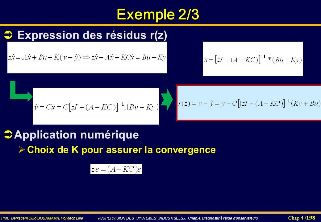 Chap.4 / 198 Prof. Belkacem Ould BOUAMAMA, PolytechLille «SUPERVISION DES SYSTEMES INDUSTRIELS». Chap.4: Diagnostic à laide dobservateurs Exemple 2/3