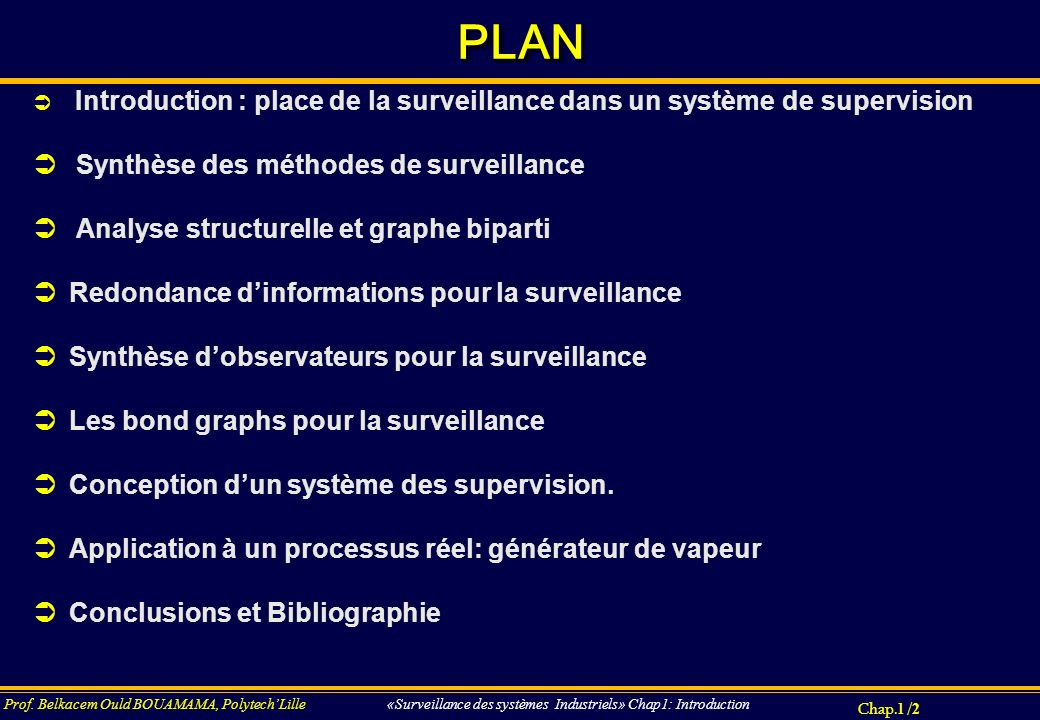 Chap.3 / 173 Prof.Belkacem Ould BOUAMAMA, PolytechLille «SUPERVISION DES SYSTEMES INDUSTRIELS».