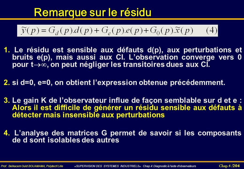Chap.4 / 204 Prof. Belkacem Ould BOUAMAMA, PolytechLille «SUPERVISION DES SYSTEMES INDUSTRIELS». Chap.4: Diagnostic à laide dobservateurs Remarque sur