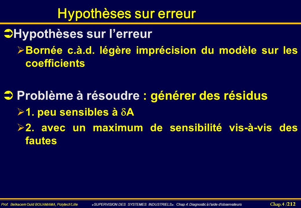 Chap.4 / 212 Prof. Belkacem Ould BOUAMAMA, PolytechLille «SUPERVISION DES SYSTEMES INDUSTRIELS». Chap.4: Diagnostic à laide dobservateurs Hypothèses s