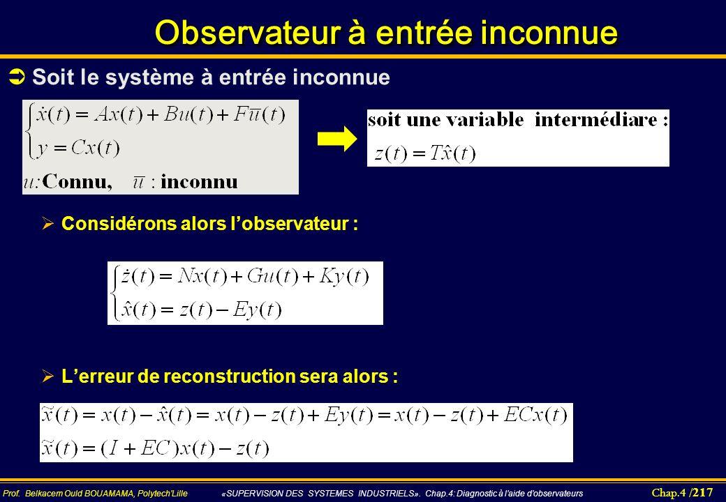 Chap.4 / 217 Prof. Belkacem Ould BOUAMAMA, PolytechLille «SUPERVISION DES SYSTEMES INDUSTRIELS». Chap.4: Diagnostic à laide dobservateurs Observateur