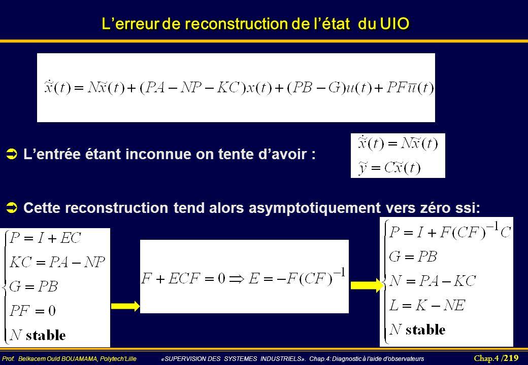 Chap.4 / 219 Prof. Belkacem Ould BOUAMAMA, PolytechLille «SUPERVISION DES SYSTEMES INDUSTRIELS». Chap.4: Diagnostic à laide dobservateurs Lerreur de r