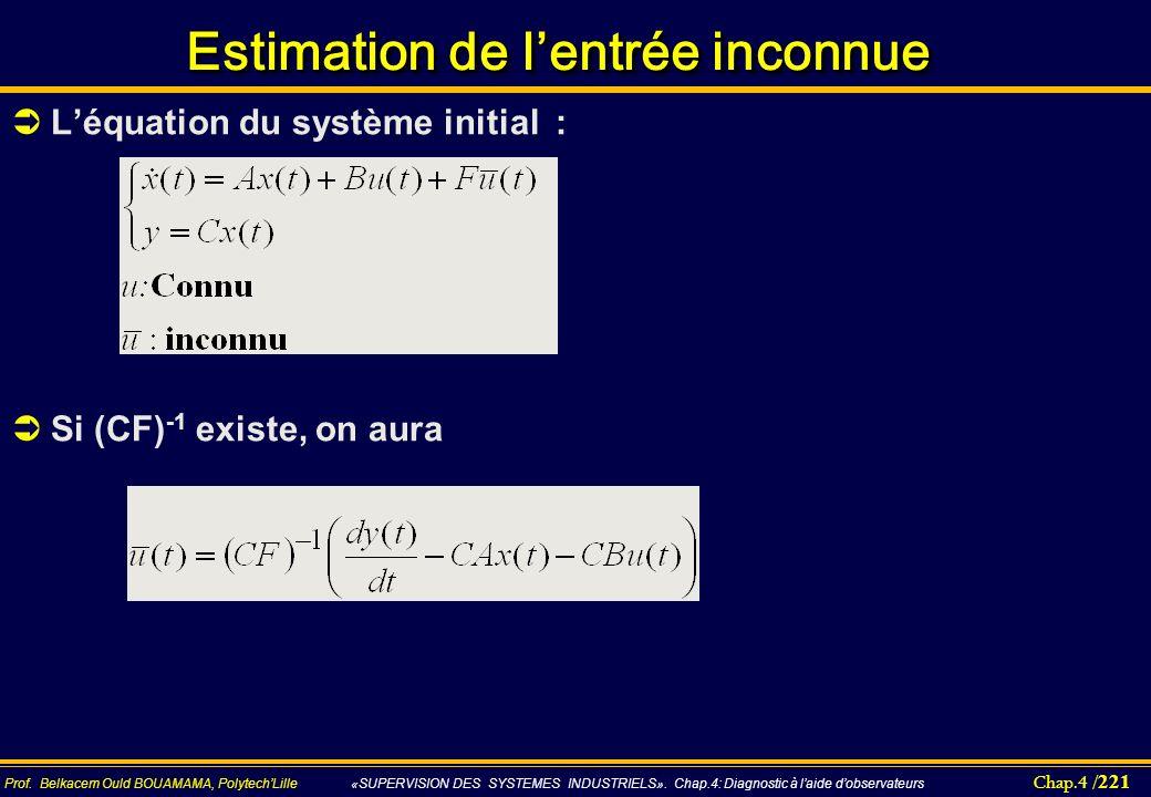 Chap.4 / 221 Prof. Belkacem Ould BOUAMAMA, PolytechLille «SUPERVISION DES SYSTEMES INDUSTRIELS». Chap.4: Diagnostic à laide dobservateurs Estimation d