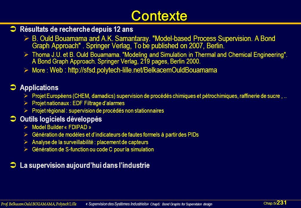 Chap.5/ 231 Prof. Belkacem Ould BOUAMAMA, PolytechLille « Supervision des Systèmes Industriels» Chap5: Bond Graphs for Supervision design ContexteCont