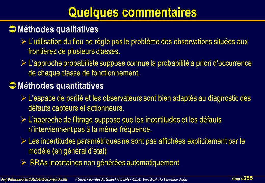 Chap.5/ 255 Prof. Belkacem Ould BOUAMAMA, PolytechLille « Supervision des Systèmes Industriels» Chap5: Bond Graphs for Supervision design Quelques com