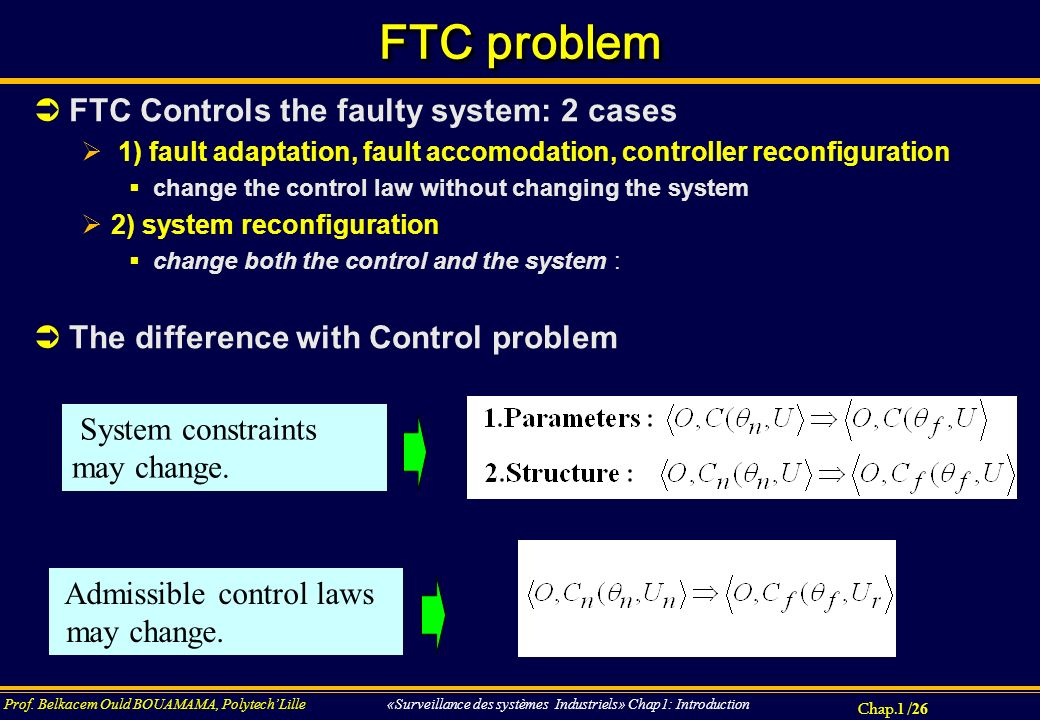 Chap.1 / 26 Prof. Belkacem Ould BOUAMAMA, PolytechLille «Surveillance des systèmes Industriels» Chap1: Introduction FTC problem FTC Controls the fault