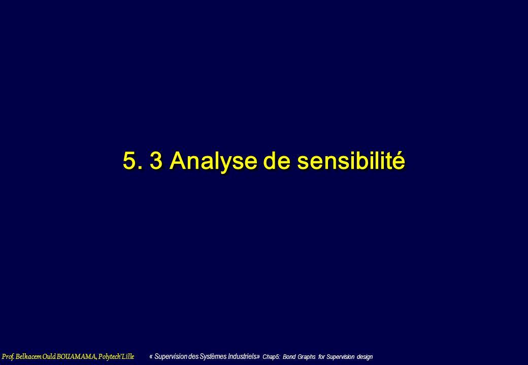 Prof. Belkacem Ould BOUAMAMA, PolytechLille « Supervision des Systèmes Industriels» Chap5: Bond Graphs for Supervision design 5. 3 Analyse de sensibil