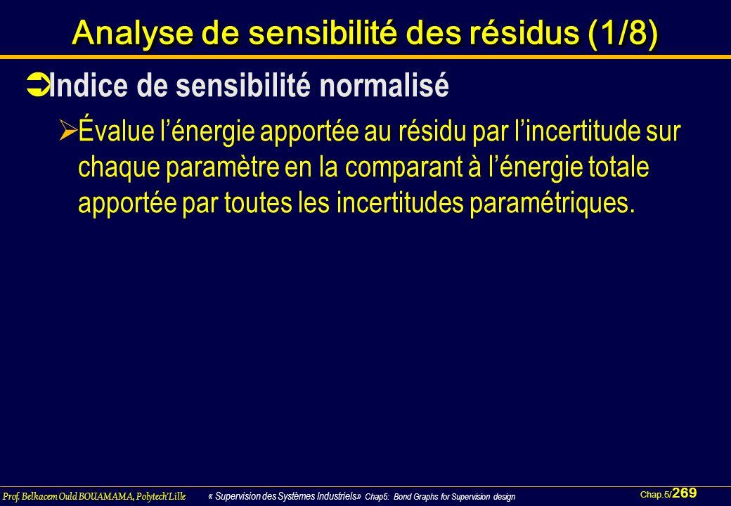 Chap.5/ 269 Prof. Belkacem Ould BOUAMAMA, PolytechLille « Supervision des Systèmes Industriels» Chap5: Bond Graphs for Supervision design Analyse de s