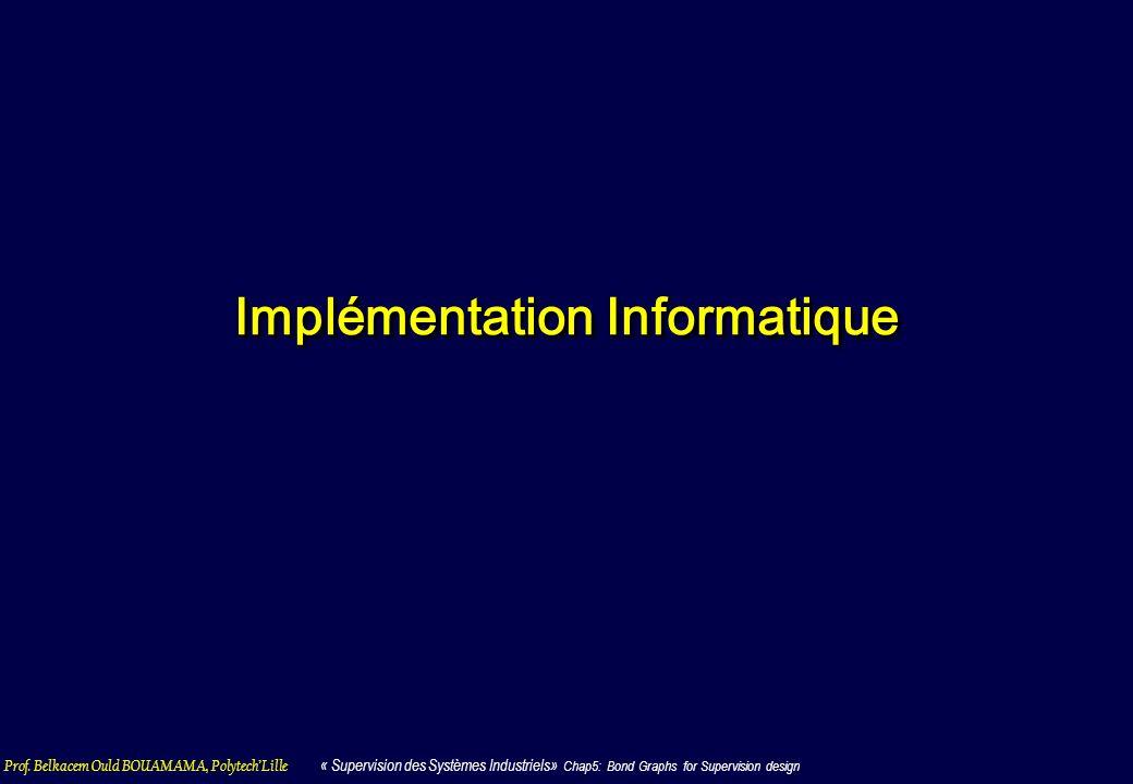 Prof. Belkacem Ould BOUAMAMA, PolytechLille « Supervision des Systèmes Industriels» Chap5: Bond Graphs for Supervision design Implémentation Informati