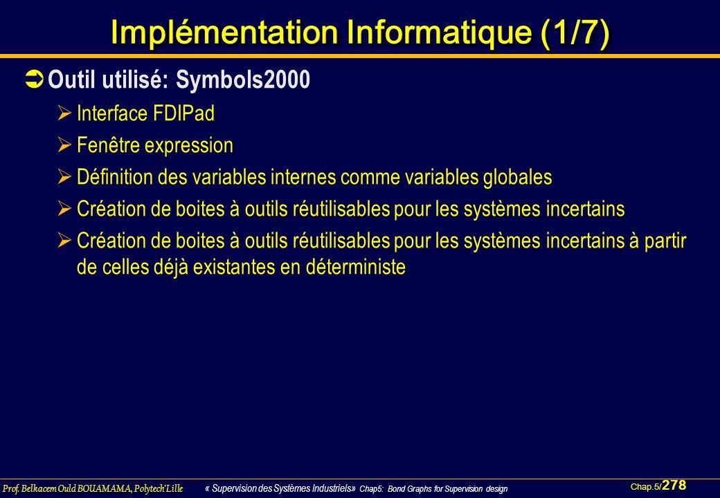 Chap.5/ 278 Prof. Belkacem Ould BOUAMAMA, PolytechLille « Supervision des Systèmes Industriels» Chap5: Bond Graphs for Supervision design Implémentati