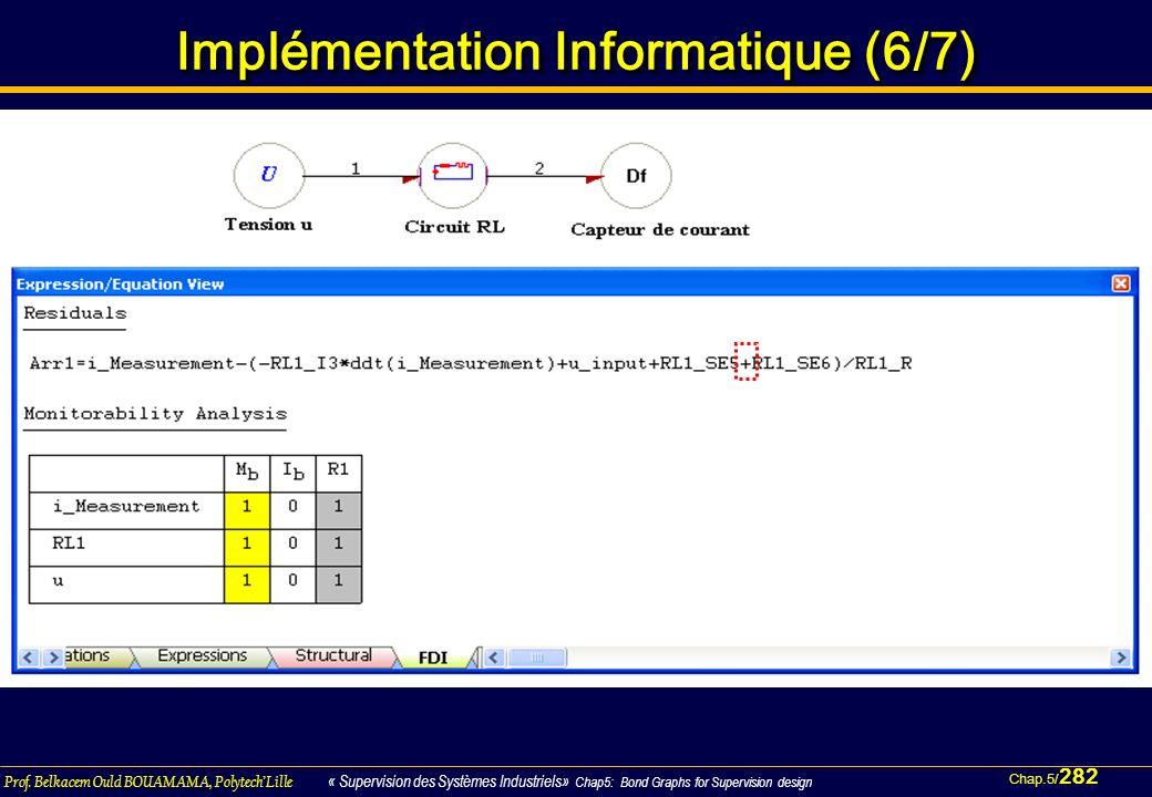 Chap.5/ 282 Prof. Belkacem Ould BOUAMAMA, PolytechLille « Supervision des Systèmes Industriels» Chap5: Bond Graphs for Supervision design Implémentati