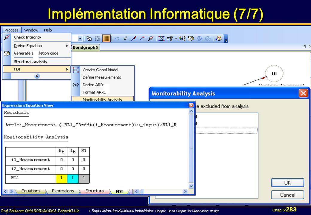 Chap.5/ 283 Prof. Belkacem Ould BOUAMAMA, PolytechLille « Supervision des Systèmes Industriels» Chap5: Bond Graphs for Supervision design Implémentati