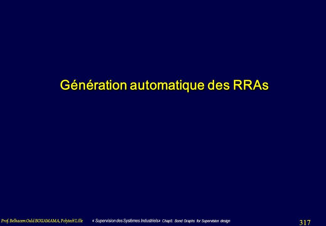 Prof. Belkacem Ould BOUAMAMA, PolytechLille « Supervision des Systèmes Industriels» Chap5: Bond Graphs for Supervision design 317 Génération automatiq