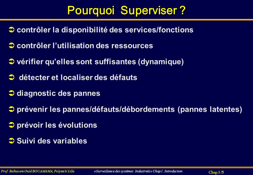Chap.4 / 186 Prof.Belkacem Ould BOUAMAMA, PolytechLille «SUPERVISION DES SYSTEMES INDUSTRIELS».